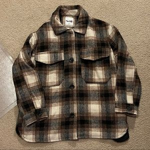 NWT Black, creme and brown plaid flannel shacket